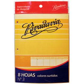 1436 SEPARADORES ESCOLARES 3 RIVADAVIA 8 Hs. CARTULINA Colores