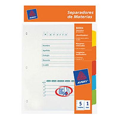 2487 SEPARADORES ESCOLARES 3 AVERY 80004 - 11840 5 Posic. Color Imprimible